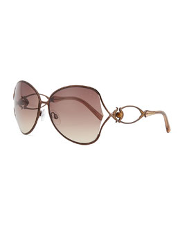 Roberto Cavalli Round Acetate Jewel/Crystal-Temple Sunglasses