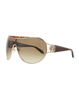 Roberto Cavalli Shield Havana-Temple Sunglasses, Rose Gold/Brown