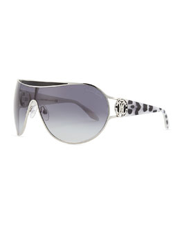 Roberto Cavalli Shield Leopard Print-Temple Sunglasses, Shiny Palladium
