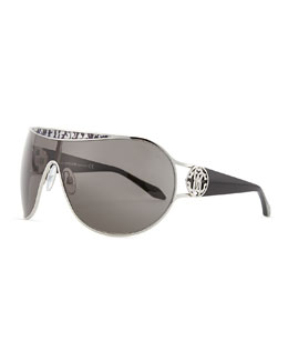 Roberto Cavalli Shield Logo-Temple Sunglasses, Palladium