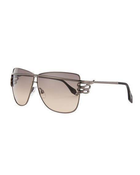 Square Serpent-Temple Sunglasses, Shiny Gunmetal