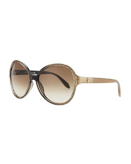 Roberto Cavalli Round Embossed-Temple Sunglasses