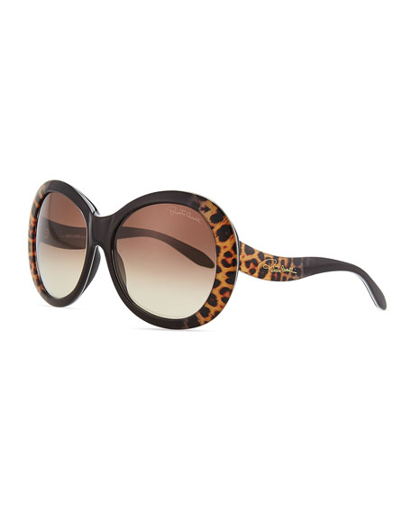 Oversized Leopard-Print Sunglasses