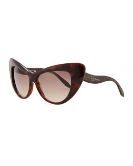 Roberto Cavalli Oversized Cat-Eye Sunglasses, Havana