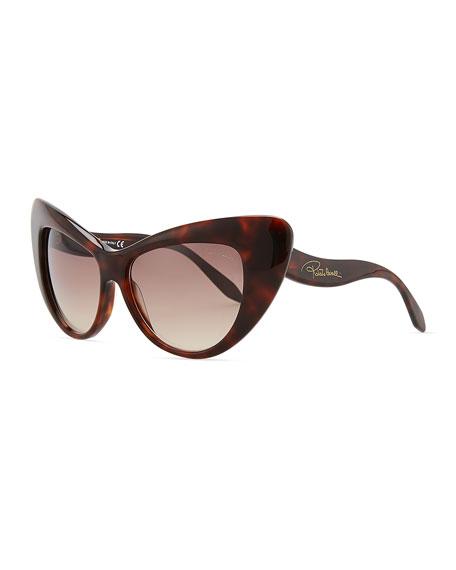 Oversized Cat-Eye Sunglasses, Havana