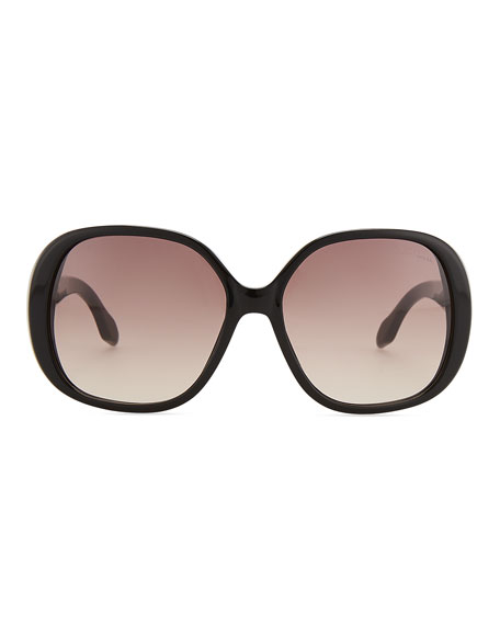 Round Sunglasses, Shiny Black