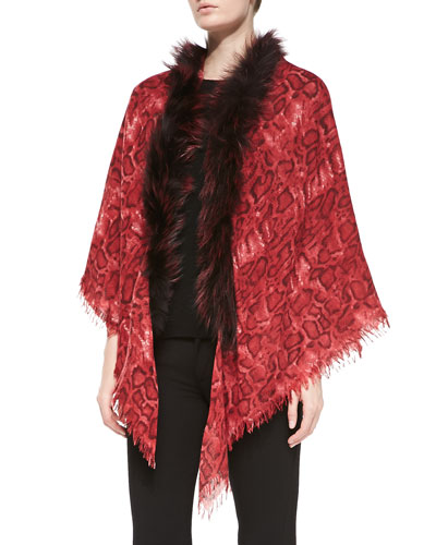 Sofia Cashmere Snake-Print Shawl with Fox Fur Trim