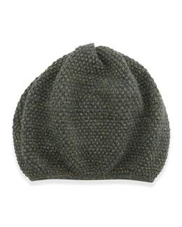 Metallic-Knit Mushroom Hat, Military/Milagold