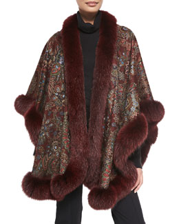 Sofia Cashmere Fox Fur-Trimmed Paisley Cashmere U-Cape, Burgundy