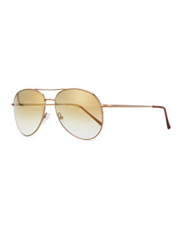 Illesteva Metal Aviator Sunglasses, Golden
