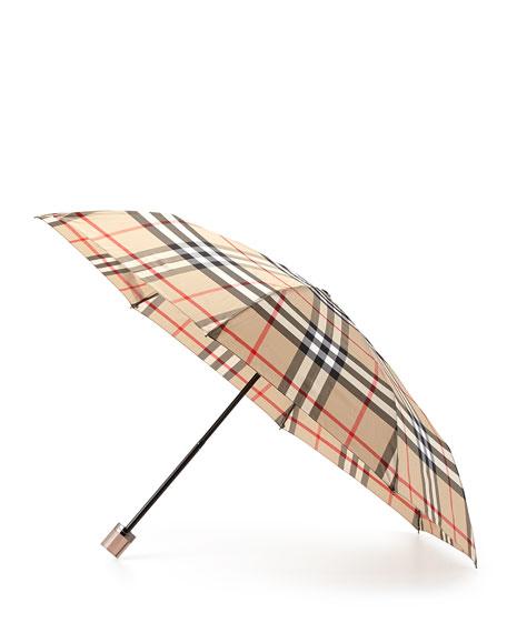 Check-Print Folding Umbrella, Camel