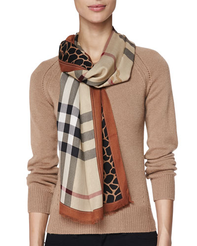 Burberry Animal-Print/Check Scarf