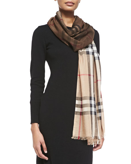 Burberry Check Wool/Silk Scarf, Camel/Brown