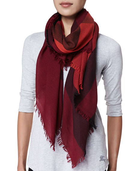 Burberry Wool Check Scarf, Russet