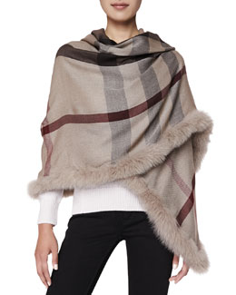 Burberry Fox-Fur-Trim Check Wrap, Smoked Trench