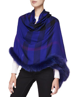 Burberry Fox-Fur-Trim Check Wrap, Dark Purple