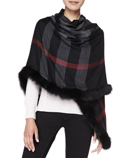 Burberry Fox Fur-Trim Check Scarf, Black