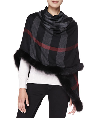 Burberry Fox Fur-Trim Check Scarf, Black
