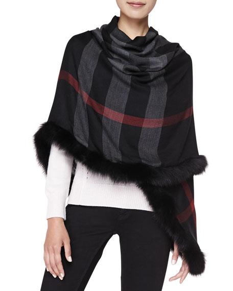 Fox Fur-Trim Check Scarf, Black