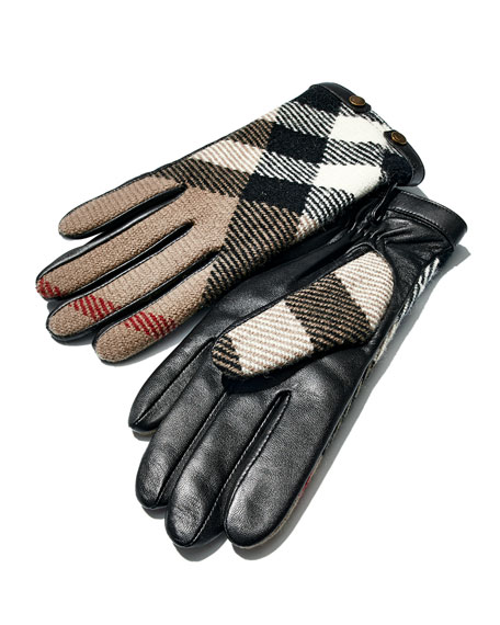 Check-Print Wool Gloves, Black
