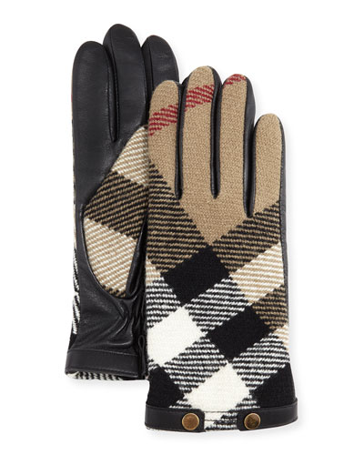 Check-Print Wool Gloves, Black