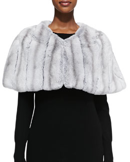 Adrienne Landau Rabbit Fur Capelet, Chinchilla-Color