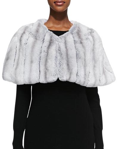 Adrienne Landau Rabbit Fur Capelet, Chinchilla-Color