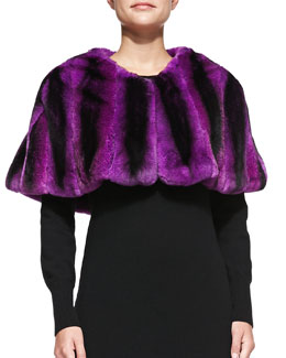 Adrienne Landau Rabbit Fur Capelet, Magenta