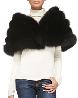 Adrienne Landau Fox/Rabbit Fur Stole, Black