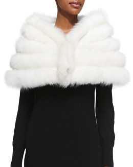 Adrienne Landau Fox/Rabbit Fur Stole, White