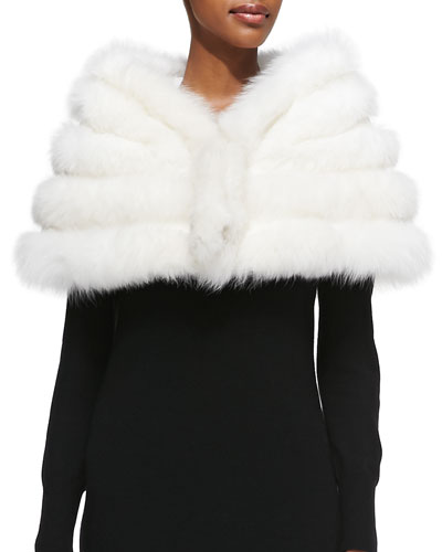 Adrienne Landau Fox/Rabbit Fur Stole, White