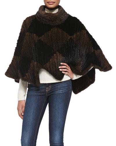 Adrienne Landau Knit Mink Fur Poncho
