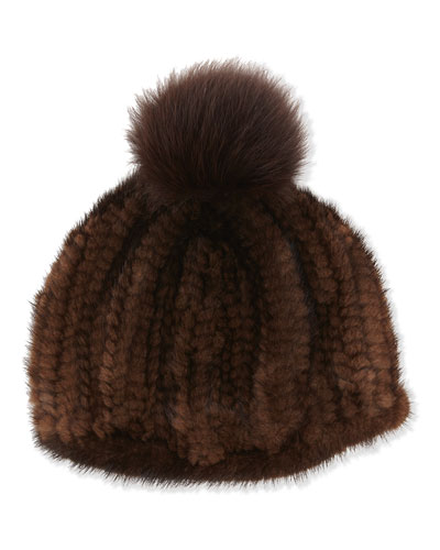 Adrienne Landau Knit Mink Hat with Fox Pom Pom