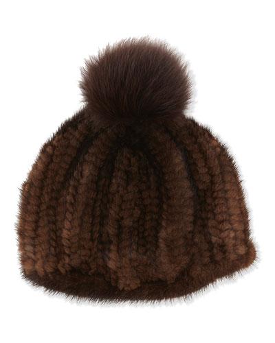Adrienne Landau Knit Mink Hat with Fox Pom Pom