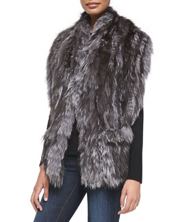 Adrienne Landau Fox-Fur Stole with Pockets