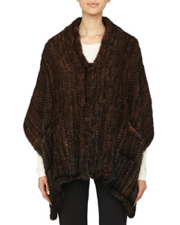 Adrienne Landau Knit Mink Fur Stole with Pockets