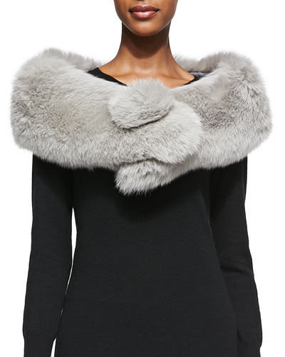 Adrienne Landau Fox Fur Button Stole, Light Gray