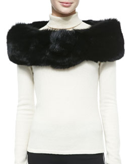 Adrienne Landau Fox Fur Button Stole, Black