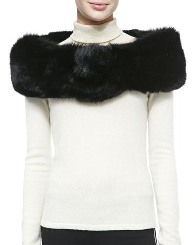 Adrienne Landau Fox Fur Button Stole, Black