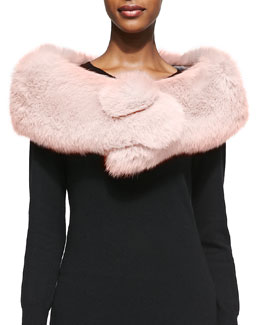 Adrienne Landau Fox Fur Button Stole, Blush