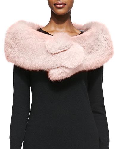 Adrienne Landau Fox Fur Button Stole, Blush