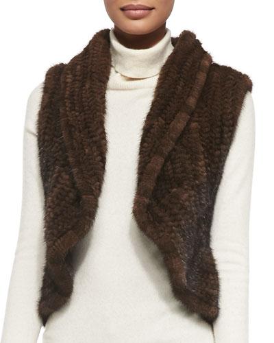 Adrienne Landau Shawl-Collar Mink Fur Vest