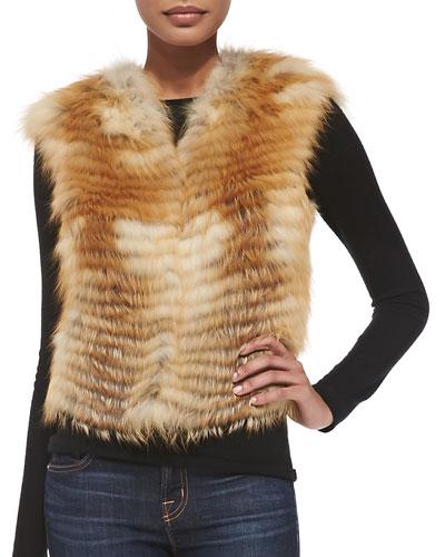 Adrienne Landau Let Out Fox Fur Vest