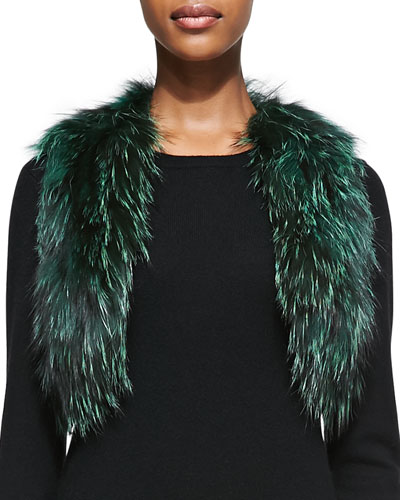 Adrienne Landau Cropped Fox Fur Vest, Green