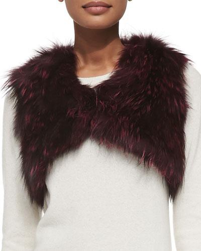 Adrienne Landau Cropped Fox Fur Vest, Burgundy
