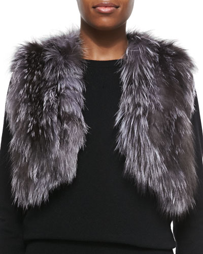 Adrienne Landau Cropped Fox Fur Vest, Natural