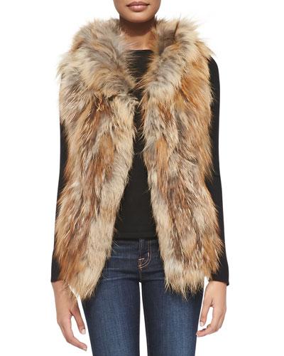 Adrienne Landau Hooded Fox Fur Vest, Natural Red