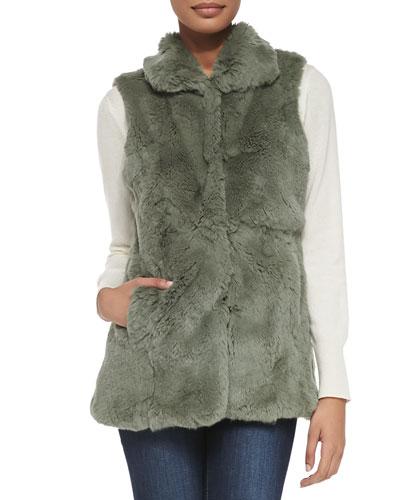 Adrienne Landau Long Rabbit Fur Vest