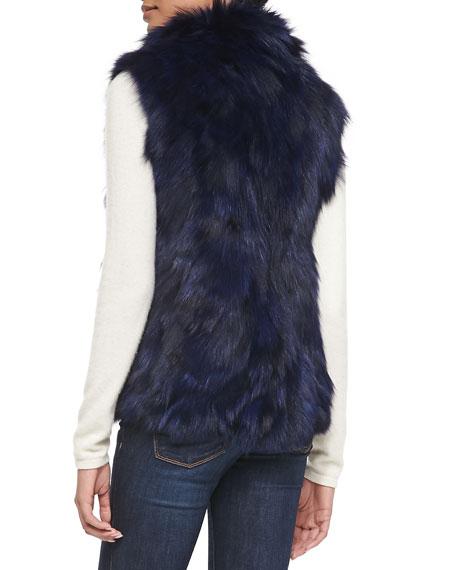 Fox Fur Vest, Blue