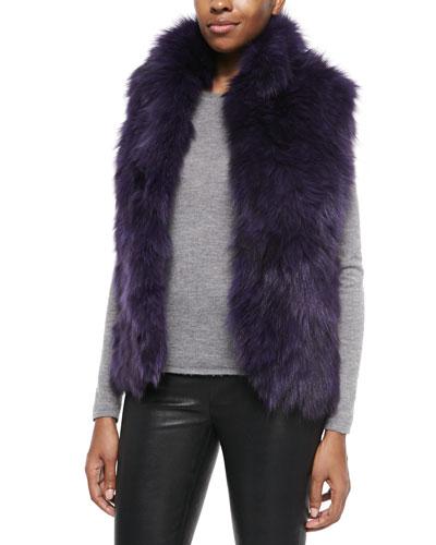 Adrienne Landau Fox Fur Vest, Purple